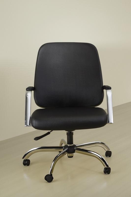 Cadeira Giratória para Escritório de Couro Inhaúma - Cadeira para Escritório Giratória Tipo Executiva
